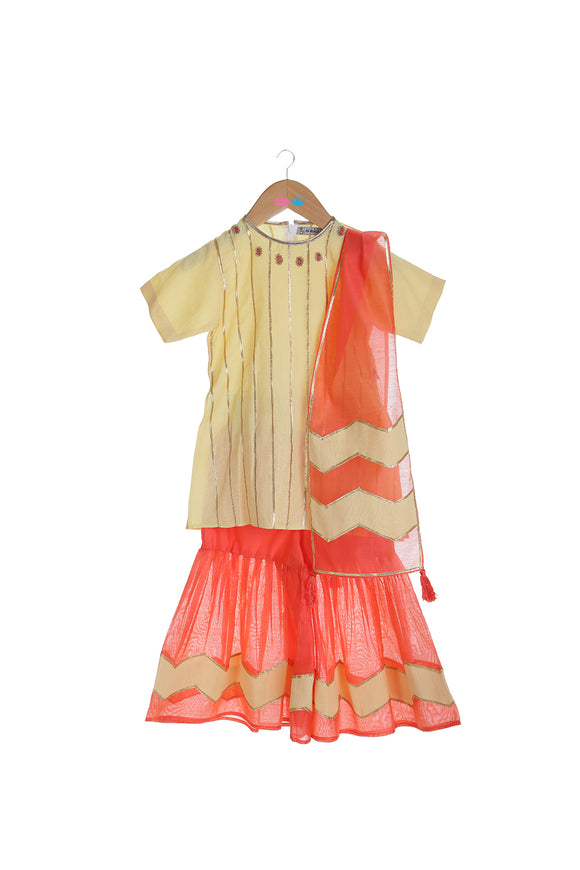 Organic Beige Kurta with Red Sharara and Dupatta