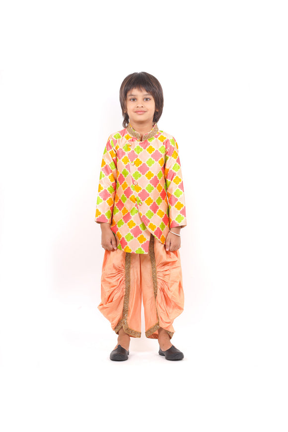 Multi color kurta and peach dhoti set