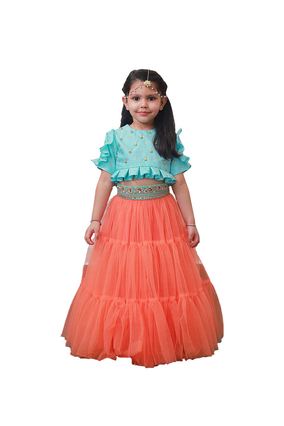 Blue and Peach Indo Western Ghagra Choli Set