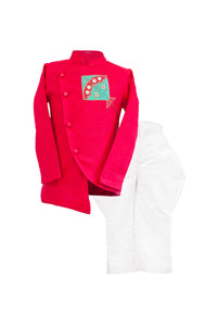 Boys Pinkish Red Linen Jacket With White Polo Pants