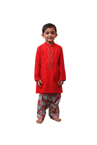 Red and Pista Green Kurta Patiala Set