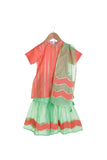 Organic Peach Kurta with Green Sharara and Dupatta