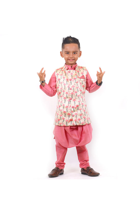 Flamingo print jacket with cowl kurta and pyjama