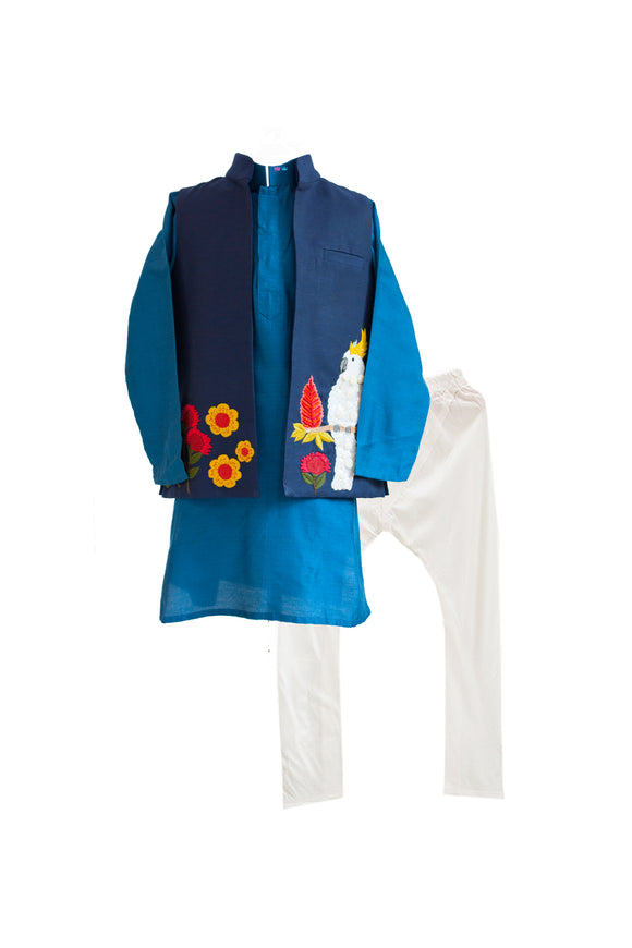 Navy Blue Cockatoo Jacket with Kurta