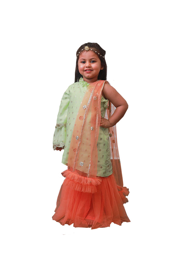 Light Green Kurti and Peach Sharara Set