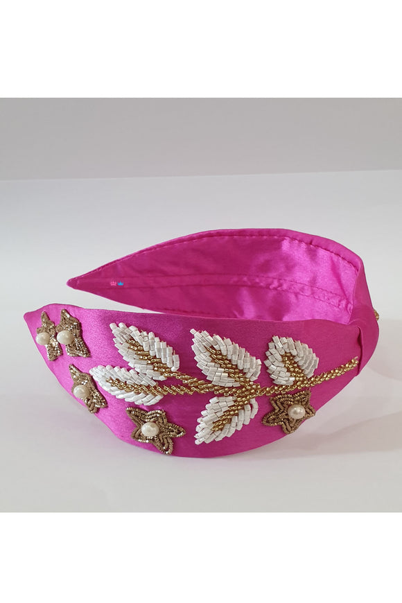 Pink leaf embroidery hairband! designer Hair Accessories, designer Hair Clips, designer Hair Bands, Hair Accessories for girls