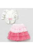 White high low top with ruffle skirt! Designer Dresses for Girls, Designer Dresses for Baby Girls, Designer Partywear Dresses for Girls, Party Dresses for Girls, Smart Partywear Dresses for Girls, Designer Party Dresses for Girls