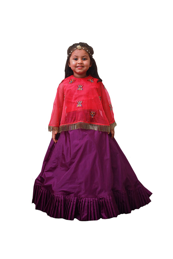 Rani Pink Cape and Purple Ghagra Set