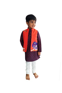 Navy Gond Art jacket with Printed Kurta