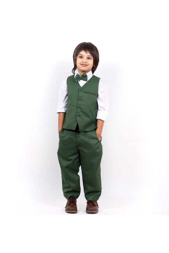 White shirt with green waistcoat and pants