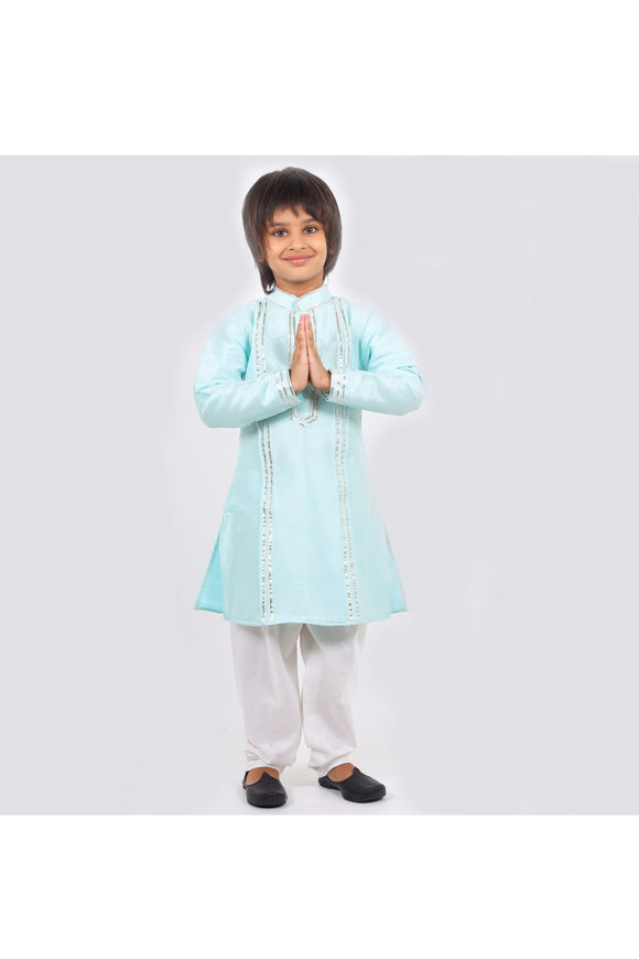 Light blue kurta and white pyjama