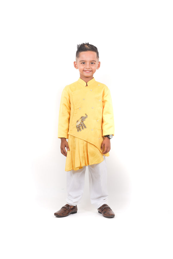 Elephant motif mustard pleated sherwani set