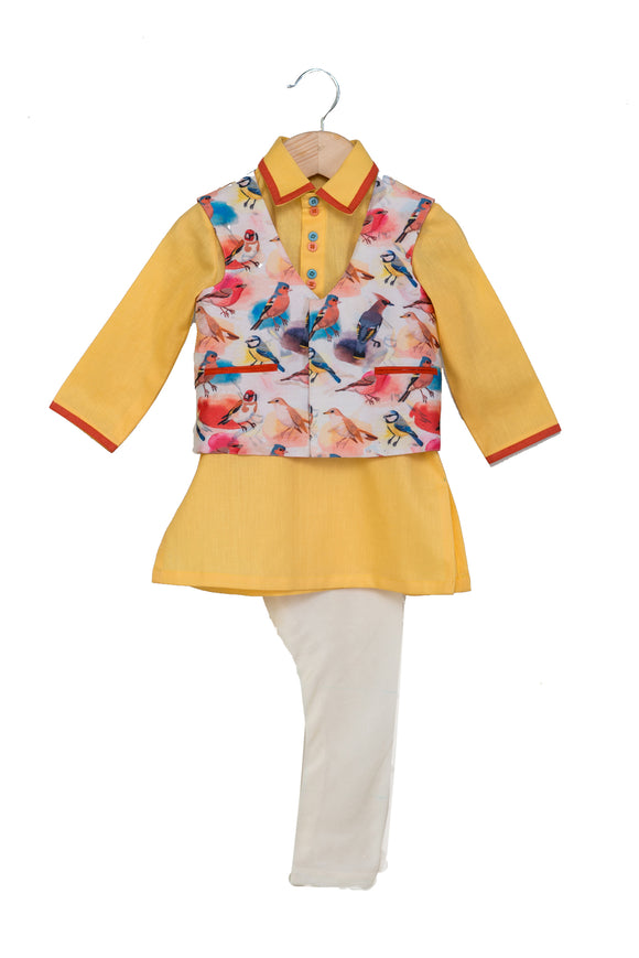 White Bird Print Jacket with Yellow Kurta and Churidar