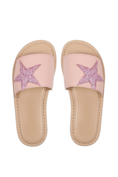 Starry big pink sandals! Footwear for girls, Flip flop for girls, designer sandals for girls, belly shoes for girls, designer kolhapuri flats
