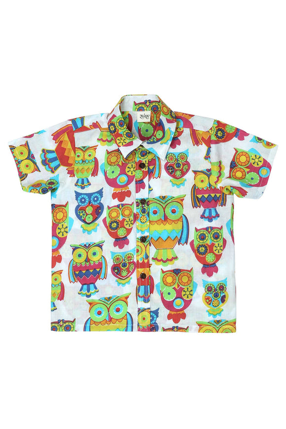 Hoot Hoot Cotton Printed Shirt