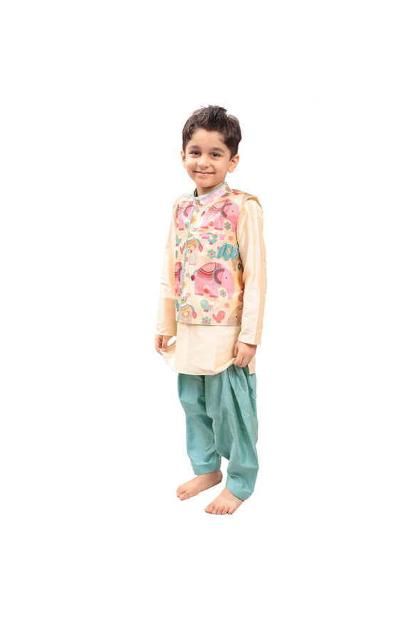 Elephant Print Nehru Jacket with kurta and patiala salwar