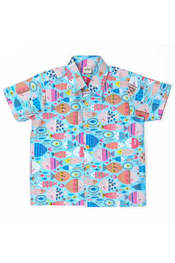 Fishy fish cotton printed shirt
