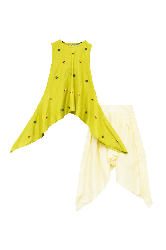 Lime Green Kurti With Dhoti