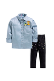 Blue shirt with denim pants set