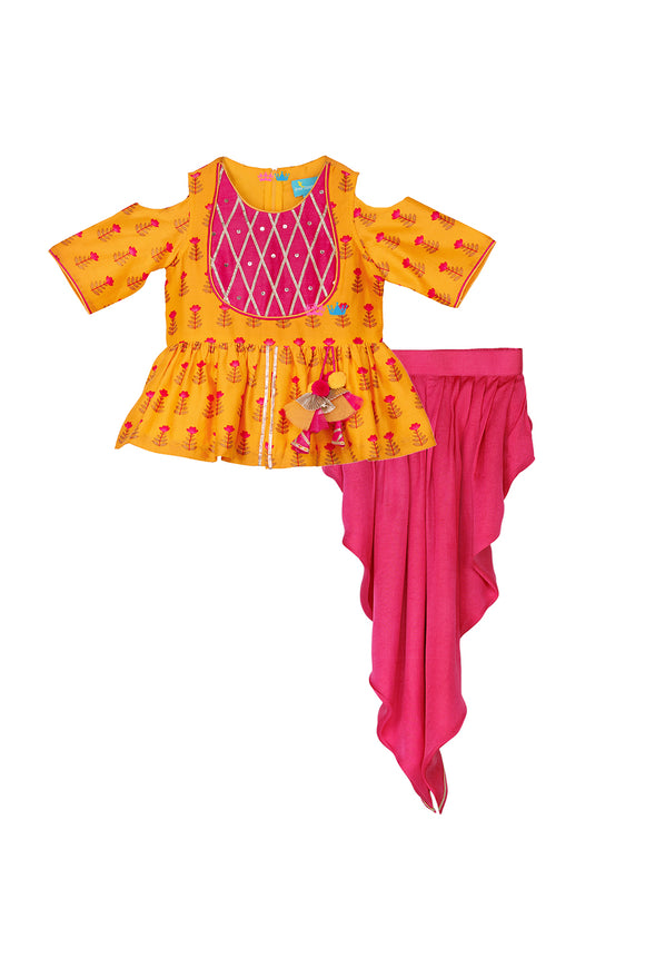 Mango Melody Dhoti Set