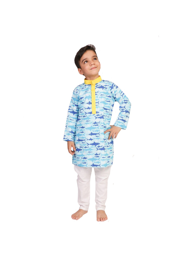 Shark Printed Cotton Kurta