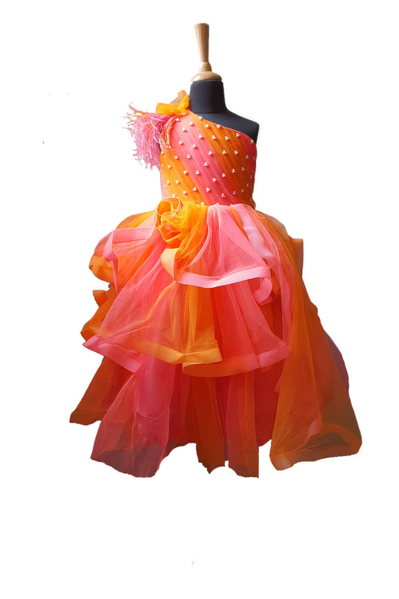 Orange Coral Shaded Feather Gown