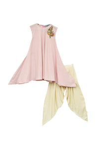 Onion Pink Kurti with Patch on Shoulder & Dhoti