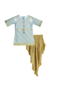 Powder Blue Kurti Dhoti Set