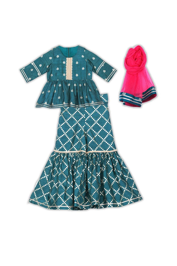 Peacock teal green peplum style top sharara set! Designer Salwar Suit Sets for Baby Girls, Designer Ethnic wear for Girls, Designer Indian wear for Girls, Designer Kurta Dhoti for Baby Girls, Designer Kurta Sharara Sets for Baby Girls, Designer Kurta Garara Sets for Baby Girls, Designer Anarkali Suits for Girls