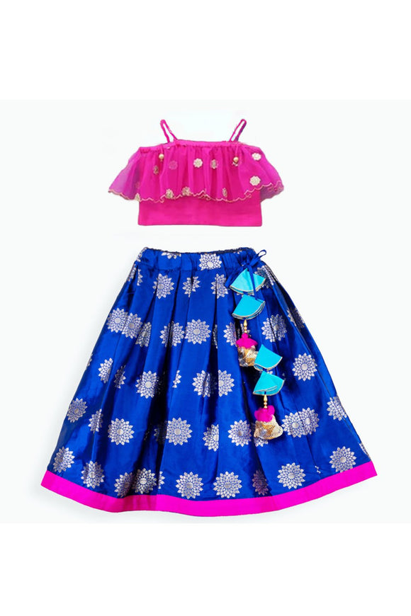 Hot pink off-shoulder top and navy blue lehenga! Get the Best Designer Lehenga Sets for Baby Girls, Designer Choli Ghagra Sets for Baby Girls, Designer Lehenga Choli Sets for Girls, Designer Lehenga Choli for kids, Lehenga for Girls, Ghagra for Girls, Ethnic wear for Girls, Indian Wear for Girls, Designer Ghagra for Kids