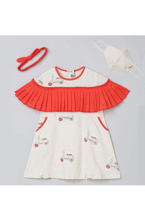 Scooter print a-line dress with mask and hairband