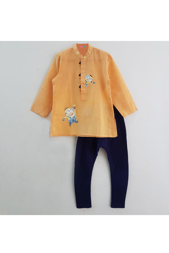Orange hand painted minion appliqued on kurta and navy blue churidar