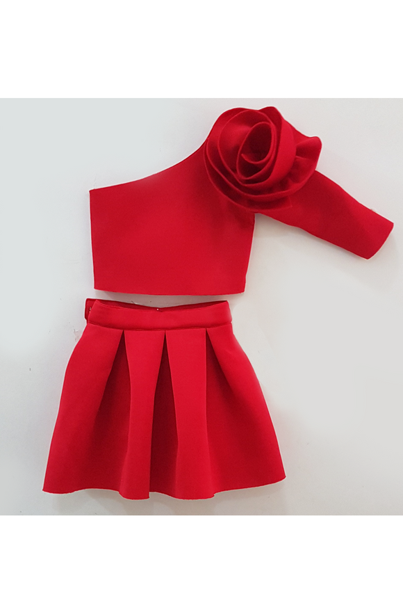 3D red rose flower crop top and short skirt set