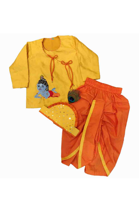 Yellow angarkha kurta with dhoti and mukut