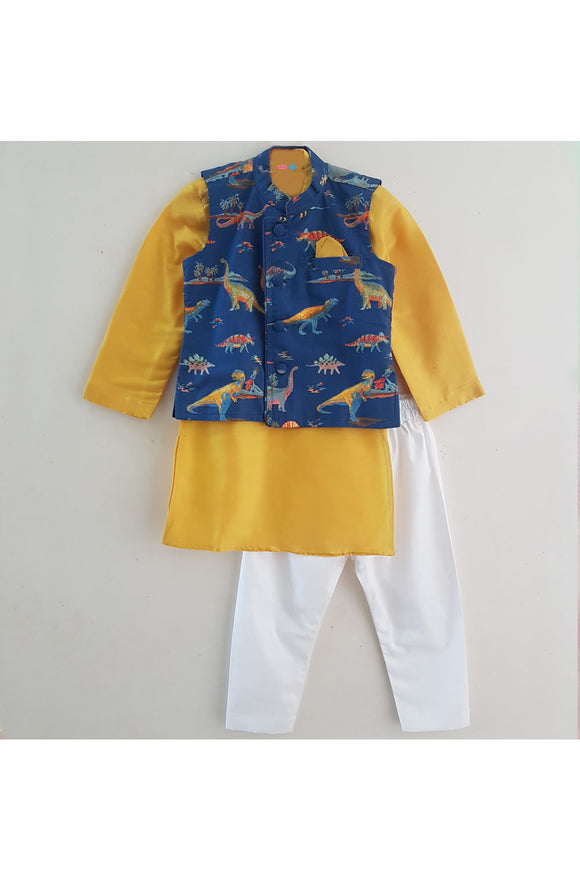 Yellow kurta with white pyjama and dino print jacket