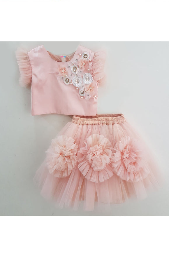 Peach sequins floral top and skirt set