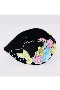 Black with multi color flower embroidery hairband
