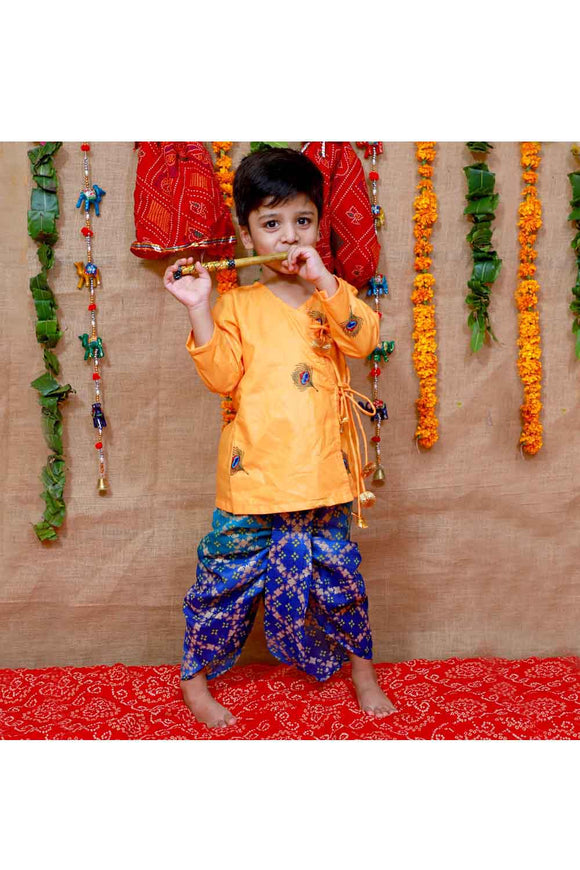 Orange and blue mor pankh kurta dhoti and flute set