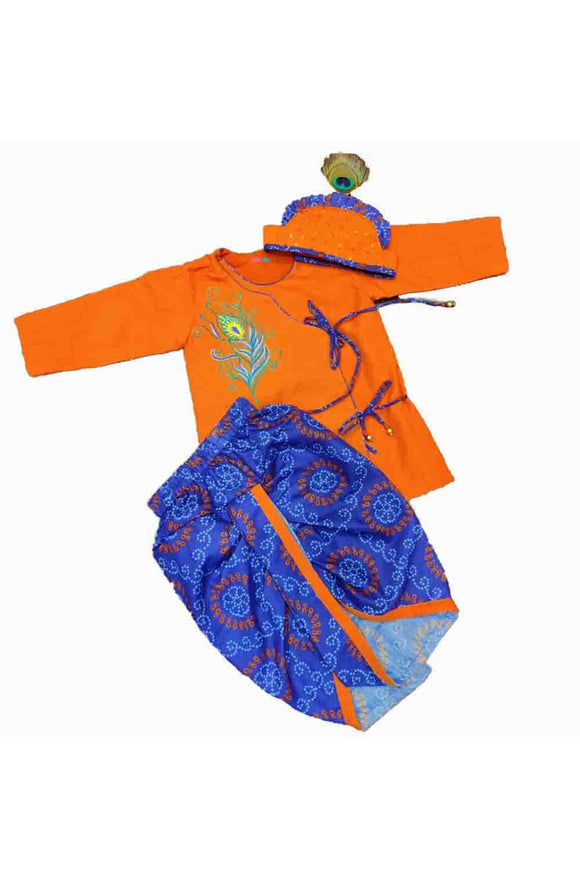 Orange angarkha kurta with blue dhoti and mukut