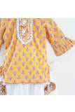 Anarkali style mustard floral print kurta with attached lehenga with mask