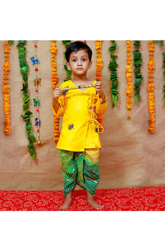 Yellow and green mor pankh kurta dhoti and flute set