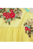 Yellow peplum style hand embroidered top skirt set