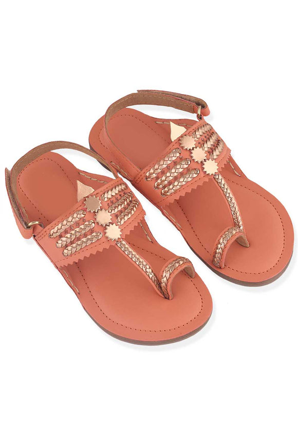 Coral and rose gold kolhapuri flats