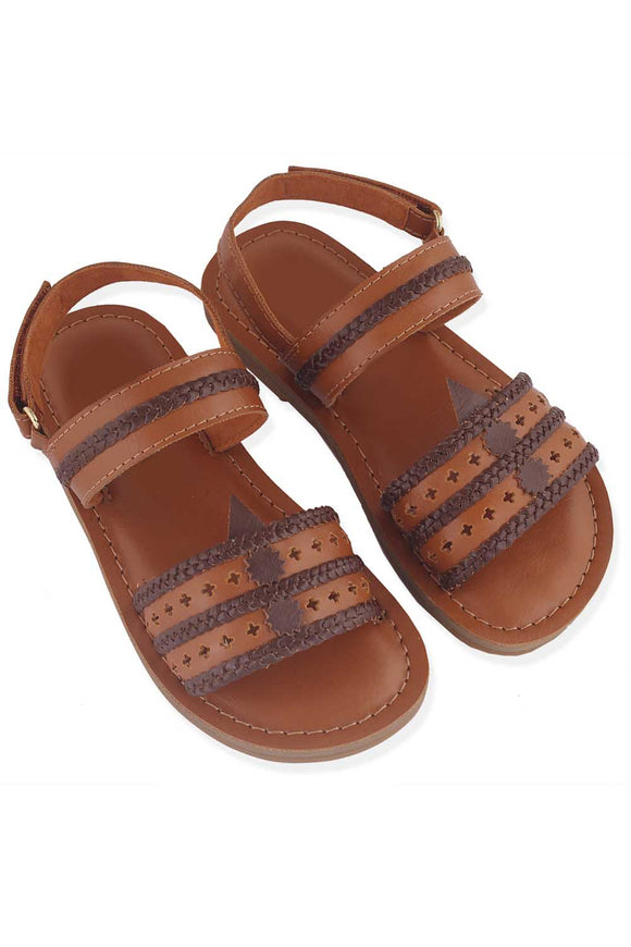 Tan and brown kolhapuri sandals