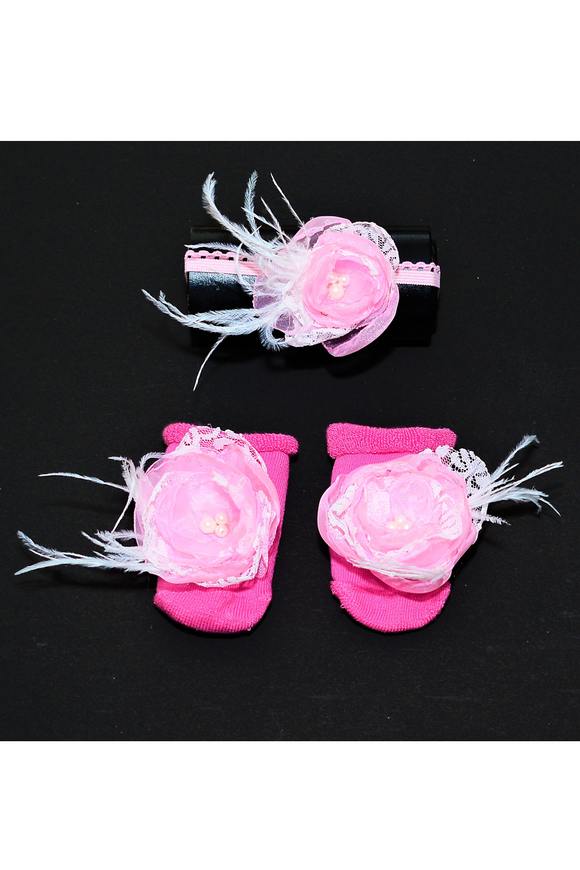 Pink Flower footless shoes with Hair band