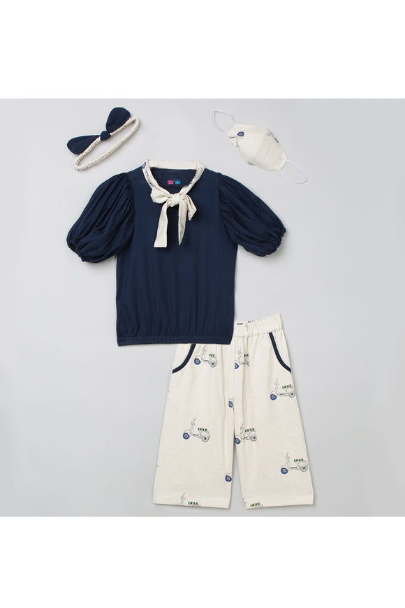 Navy blue balloon top and culotte with mask and hairband