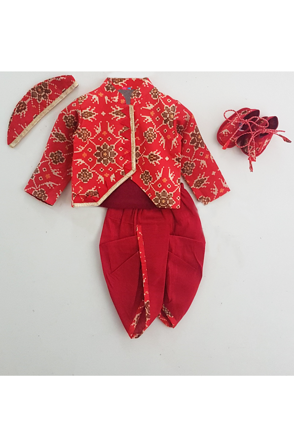 Red muslin floral printed jamna set