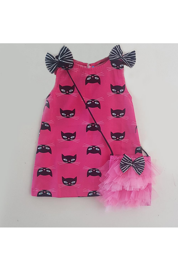 Cat printed cotton dress with sling bag