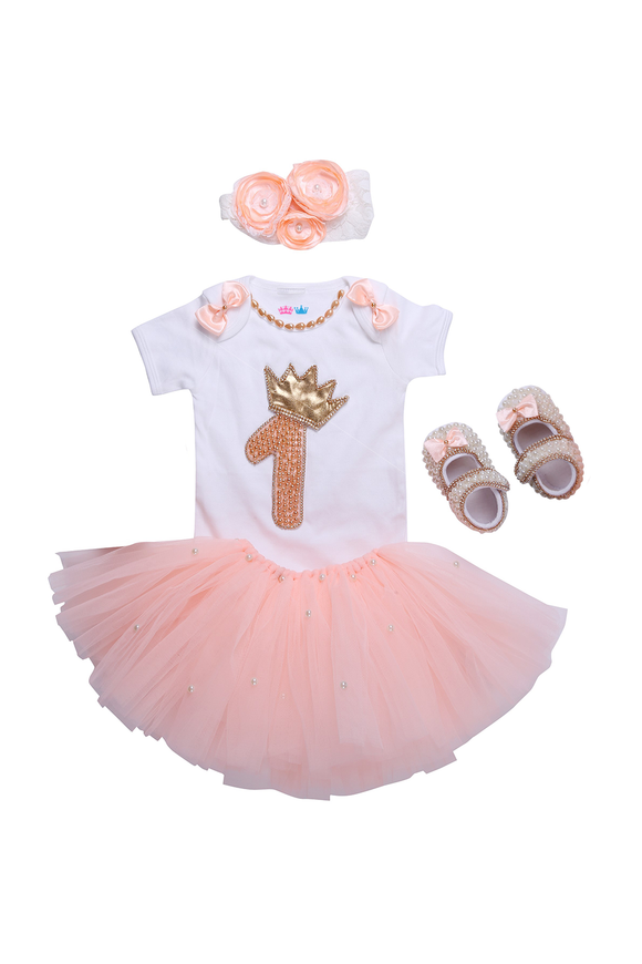Peach First Birthday Tutu Outfit