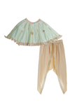 Organic Gota Embroidered Cape with Crop Top and Draped Dhoti Pants